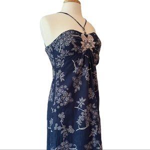 LYNDIA PROCANIK Blue Beaded Floral Sun Dress